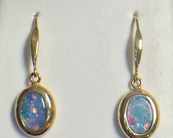 14K Yellow Gold Boulder Opal Earrings, Opal Earrings