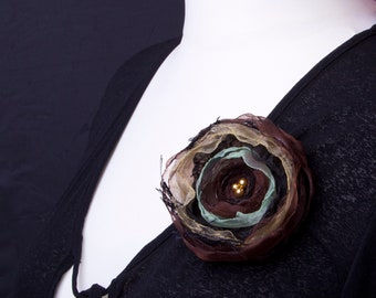 Brown Flower Brooch - layered brown and gold organza pin with beads | Floral brooch | Large flower pin | Quirky accessories