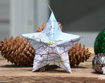 Sandusky, Ohio - Vintage Map Covered Star Ornament - OH, Home Decor, East Coast, 3 Dimensional, Christmas, Tree, Map Ornament
