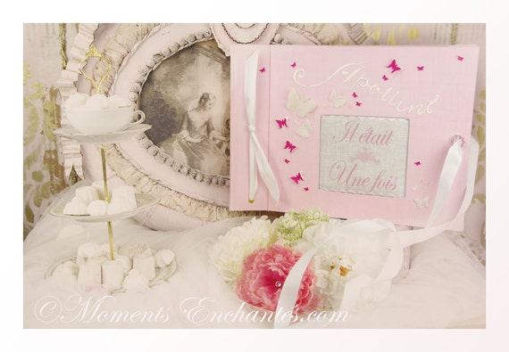 Nice Album photo butterfly pink child souvenirs baby shower girl or boy Baptism guestbook scrapbooking