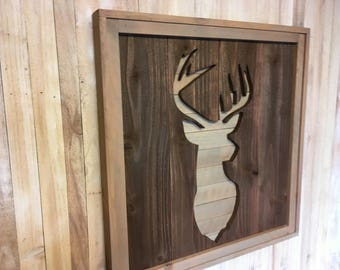 Rustic Deer Head Silhouette Sign