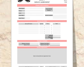 Instant Download: Makeup Artist & Hair Stylist Contract w/ Editable Printable Agreement