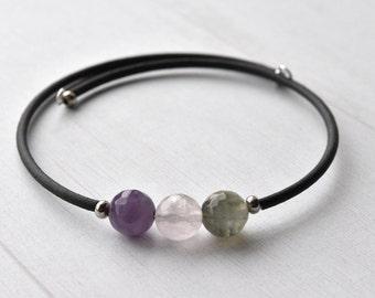Gemstone Bracelet - Beaded Bracelet - Gift for Her - Rainbow Fluorite - Fluorite Bracelet - Stone Bracelet