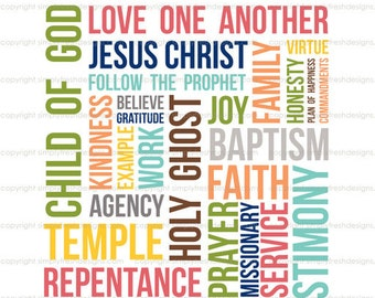 LDS Primary Words - Subway Art - Instant Download