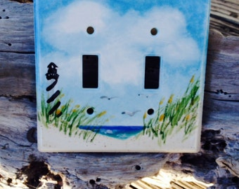 Double Switch Plate with Cape Hatteras LIghthouse