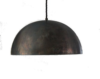 "Large black steel 14"" Dome Pendant Light island pendant kitchen light industrial pendant FREE SHIPPING"