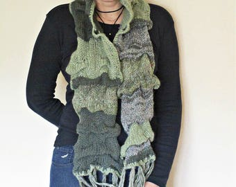 Olive knit scarf Knit green scarf Knit fringe scarf Long scarf with fringe Winter warm accessory for her Stripped scarf Long wool soft scarf