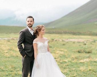 Ivory wedding dress, simple wedding dress, tulle gown, open back wedding dress, lace wedding gown, unique wedding gown / Aquamarine