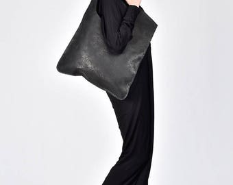 "NEW Genuine Leather Light  ""Croco "" Black Bag / High Quality  Tote Asymmetrical Tote  Bag by AAKASHA A14478"