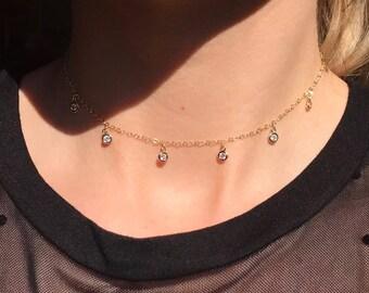 14k gold filled Cubic Zirconia Dangle Choker Necklace, Dainty Crystal choker, 6 gem necklace, gold dangle choker 14k rose gold dangle choker