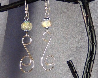"""Wirewrap and Dichroic Bead Earrings, 14k Gold Filled Wire Wrapped, 14k Gold Filled Ear wires - 2.5""""- Hand Crafted Artisan Jewelry"""