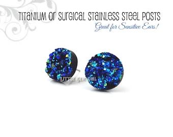 Blue Faux Druzy Stud Earrings - 8, 10 or 12mm Blue Aqua Teal Black Druzy Posts -Titanium or Stainless Steel - Blue Glitter Studs