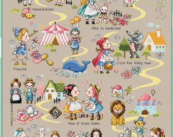 Fairy Tale Land 1 Soda Stitch pattern and kit, Alice in wonderland cross stitch pattern, little red riding hood, cute, children room decor