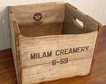 Vintage Wood Dairy Crate Milan Creamery Temple MFG Dallas Texas 1959
