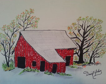 Original Painting The Old Red Barn