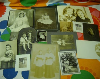 15 Vintage Antique Photos With children  Sepia Black White Boys Girls 19th Century through Mid 20th
