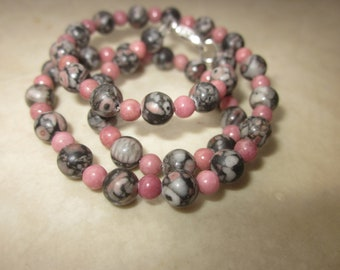 Rhodonite Fossil Crinoid Jasper Necklace for a kid