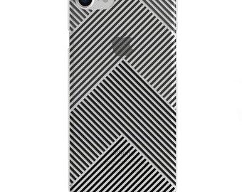 Black Geometric Lines Clear iPhone Case