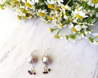 Pearl drop earrings with wire wrapped garnet