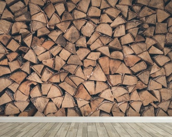 Removable Wall Mural - Stack 'o' Logs - Self-Adhesive Repositional Fabric Wallpaper - Full Sizes