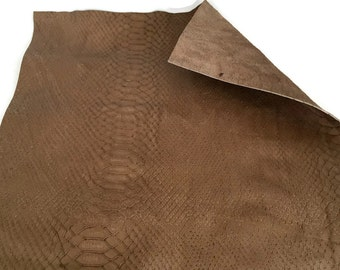 "Snakeskin Embossed Leather / Taupe Snakeskin Leather / Snakeskin Printed Leather / Snakeskin Leather Fabric / 12.5"" x 12.5"""