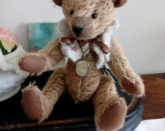 bear is handmade, fabric, mohair, fully articulated, mother's day gift
