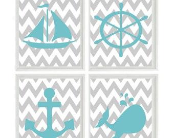 Nautical Nursery Art Print Set - Aqua Gray Chevron Decor - Whale Anchor Sailboat Wheel - Neutral Baby - Wall Art Home Decor Set