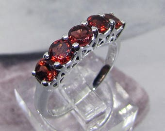 Ring Silver 925 round faceted garnets. Rhodium plated 925 sterling silver women jewelry with gem stones. Gift idea