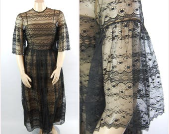 Volup 1960s Black Lace Gown // 42 Bust // Black Illusion Lace Ball Gown - Gothic // Bell Sleeves - Black Lace