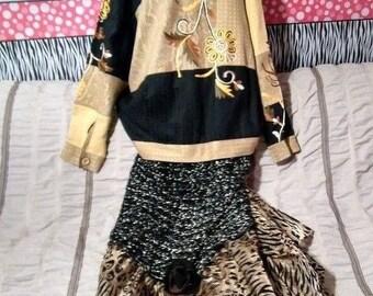 handmade jacket Dress upcycled fabrics rose long 1X