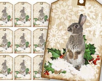 Christmas Bunny Tags, Printable Gift Tags, Rabbit Gift Tags, French Bunny Tags, Holiday Tags, Craft Supplies, digital collage, snow, holly