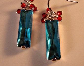 Gemstone Cluster Earrings,dangle earrings,drop earrings,gemstone earrings,crystal earrings,silver earrings,garnet earrings,birthstone