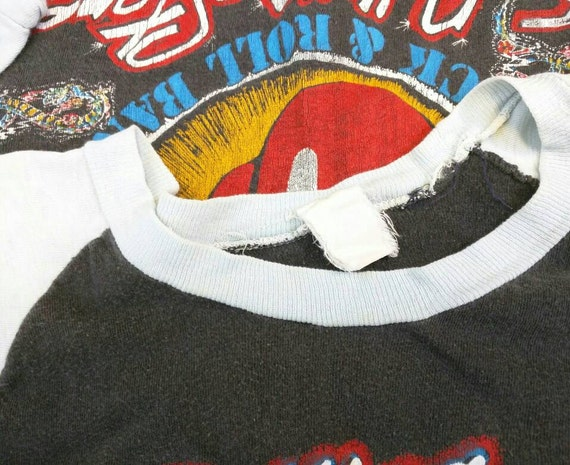 Stones sleeve cotton You 1981 baseball shirt black roll Vintage Band Tattoo Stones shirt tour Shirt Rolling M Shirt rock n Lips distressed S dx6ZqW7O