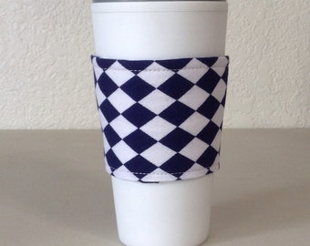 Coffee Cozy  - Blue and White Diamonds  (0813)