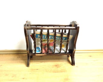 Vintage Wood Magazine Rack Holder Newspaper Storage Stand Turned Walnut Brass Distressed Handmade Curved Shabby