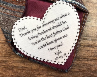 "TIE PATCH - Father of the Bride - Iron or Sew - Loving Husband - The Best Father God Could Have Given Me, 2.25"" Wide Heart Shaped Patch"