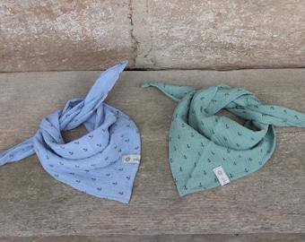 Muslin Scarf/Triangle towel anchor ghost-green light blue burb Öko-Tex ®
