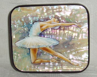 "Beautiful Hand Painted Russian small Lacquer box miniature "" Ballet Swan Lake. Odette. "" Ballerina Mother of Pearl"