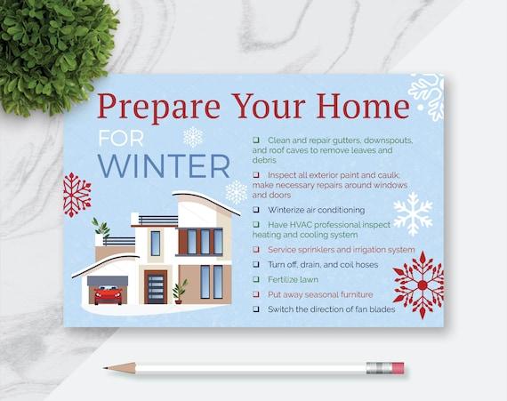 PDF Print Ready Instant Digital Download, Prepare Your Home For Winter,  Prospecting Realtor Postcards, Real Estate Marketing Postcards