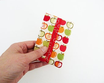 Tissue holder, apple fabric, red and green cotton apple design, cotton case
