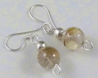 Rutilated Quartz Jewelry, Rulilated Quartz Earrings, Sterling Silver Handcrafted Earrings, Semiprecious Earring, Gemstone Earrings  S178