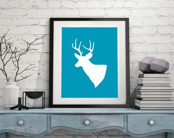 Deer Silhouette Print - Modern Art Minimalist Art Deer Print Silhouette Print Buck Wall Art Picture Silhouette Art Minimal Art Gift Idea