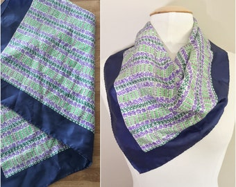 Purple Floral Scarf // Purple, Green and Blue Scarf