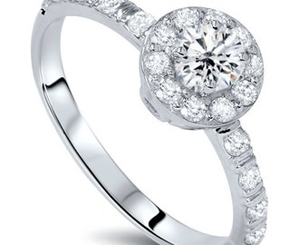 3/4CT Halo Diamond Engagement Ring Round Brilliant Cut 14 KT White Gold