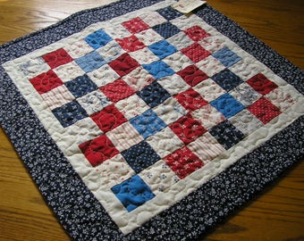 Quilted Table Runner, Patchwork Table Topper, Red, White and Blues, 22 1/2 x 22 1/2 inches