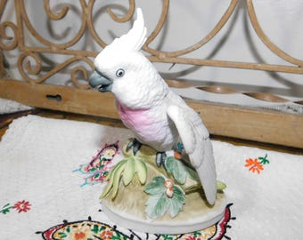 Parrot, White Parrot, Lefton China Parrot, Numbered Parrot, Vintage Figurine,