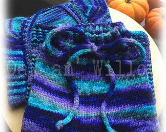 Cornish Pixie Vertebrae Cardigan and Longies Set on Gaia Worsted Merino & MMR Wool - Size 3-6 Months