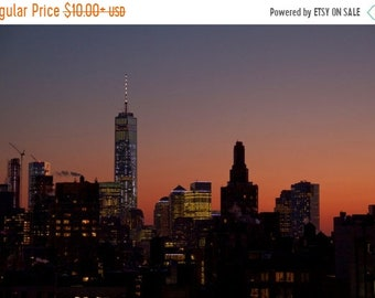 SALE 20% Off Lower Manhattan at Twilight Landscape Photograph New York City Sunset Color Fine Art Photography Freedom Tower World Trade Cent