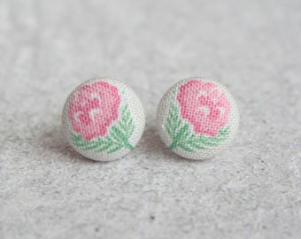 Faded Rose Fabric Button Earrings