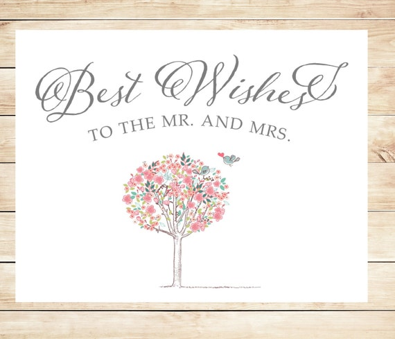 Printable Best Wishes Wedding Card Instant Download Card